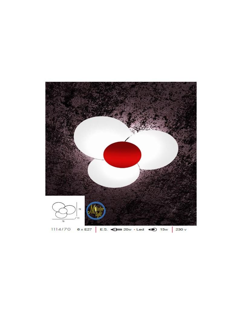 TOP LIGHT: Clover plafoniera applique effetto fiore vetro serigrafato particolare rosso in offerta