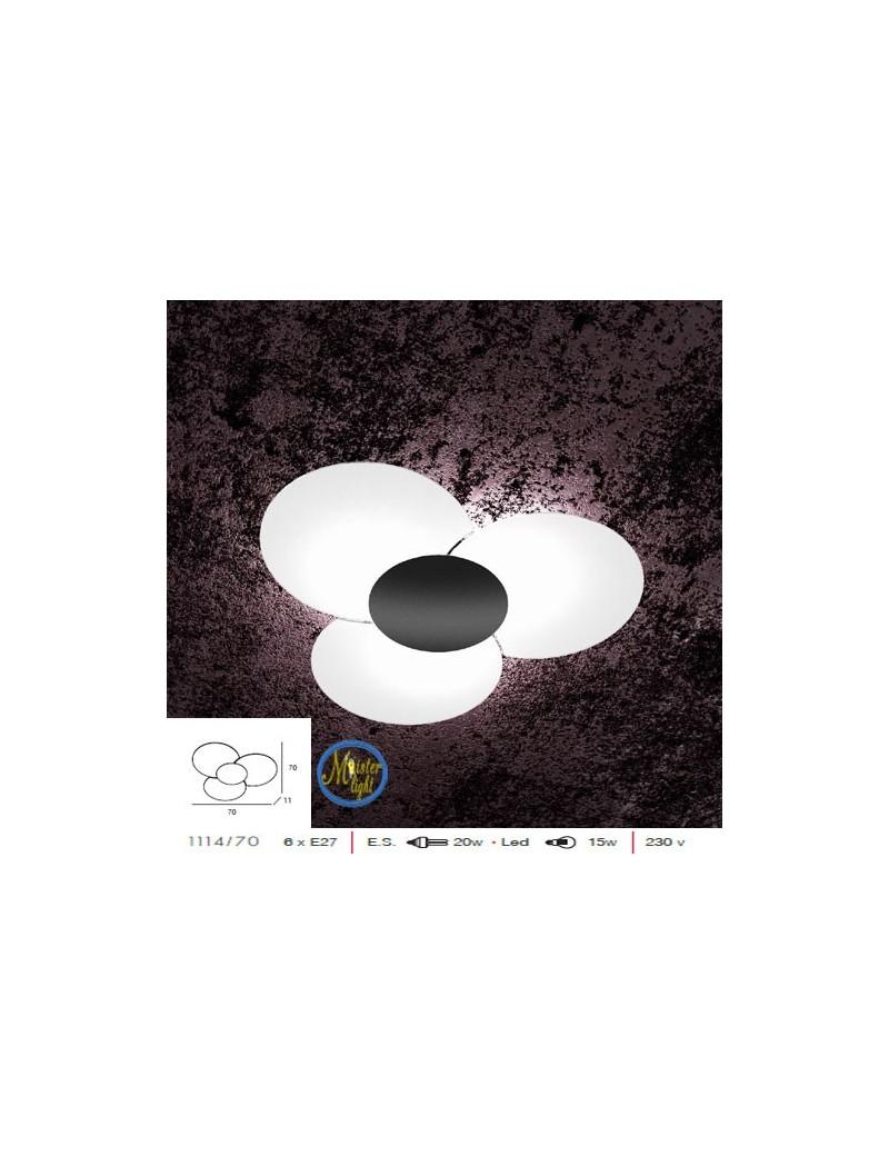 TOP LIGHT: Clover plafoniera applique effetto fiore vetro serigrafato particolare nero in offerta