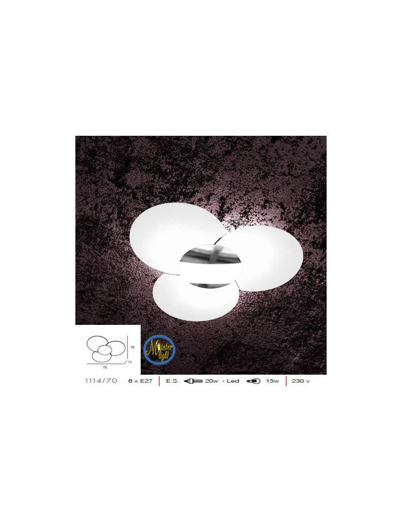 TOP LIGHT: Clover plafoniera applique effetto fiore vetro serigrafato particolare cromo in offerta