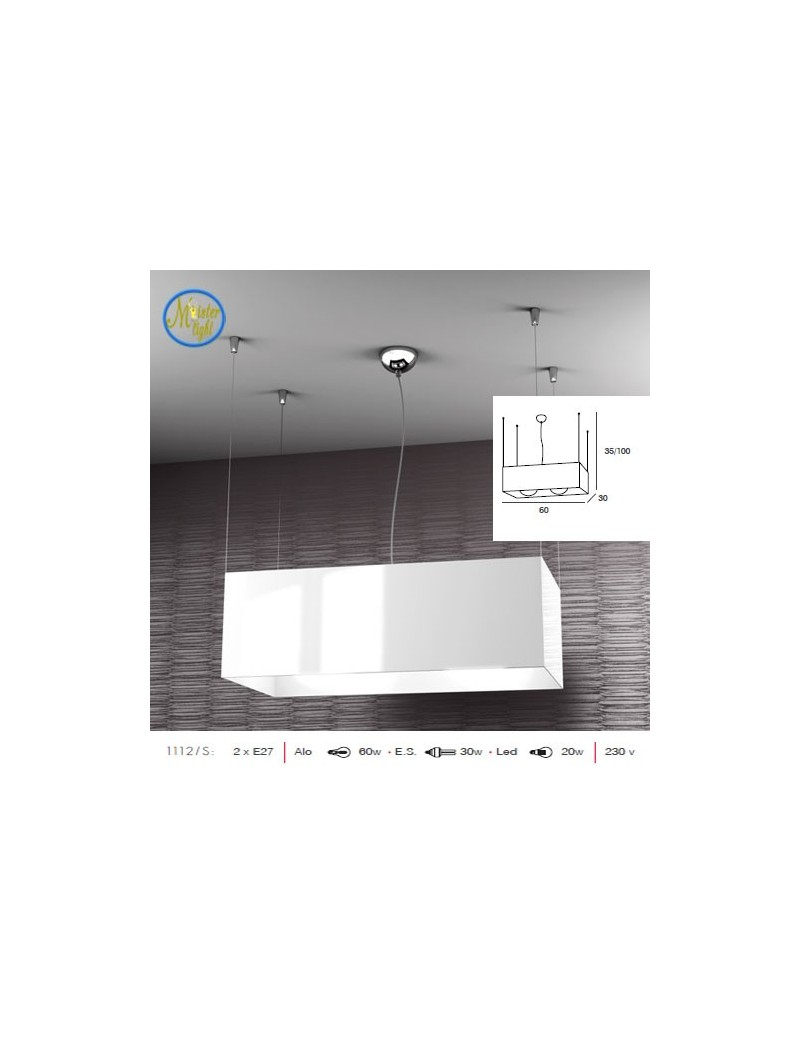 TOP LIGHT: Loft lampada sospensione rettangolare moderna bianco in offerta