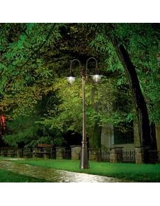 CIMA PT2 LAMPIONE GIARGINO NERO E ORO ALLUMINIO PRESSOFUSO 2 LUCI