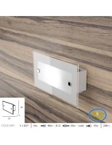Brick applique design moderno vetro bianco satinato bordo trasparente 27cm