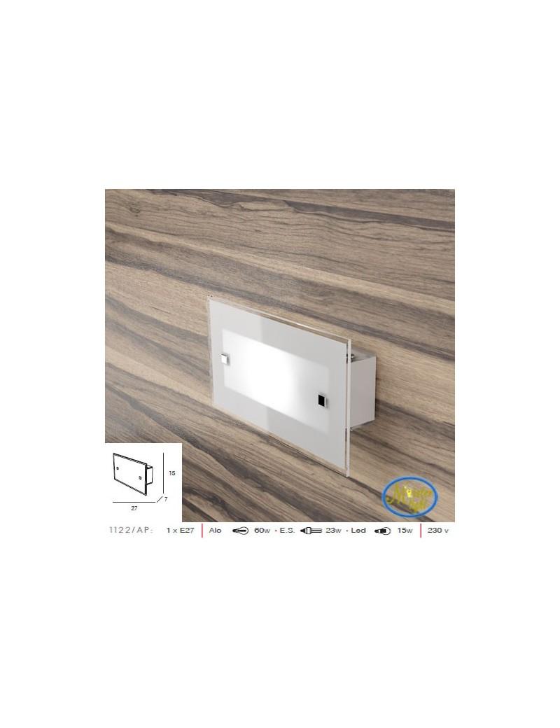 TOP LIGHT: Brick applique design moderno vetro bianco satinato bordo trasparente 27cm in offerta