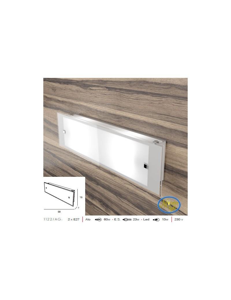 TOP LIGHT: Brick applique 58cm design moderno vetro bianco satinato bordo trasparente in offerta