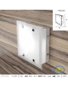 Brick plafoniera design vetro satinato bianco bordo trasparente 25cm