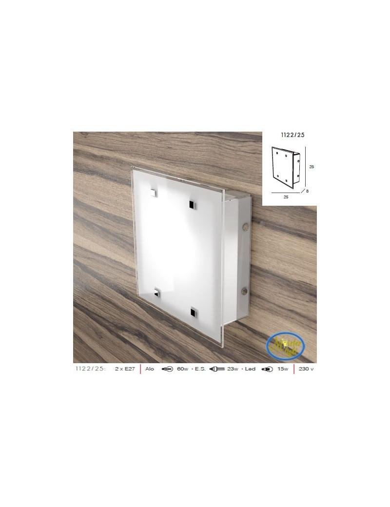 TOP LIGHT: Brick plafoniera design vetro satinato bianco bordo trasparente 25cm in offerta