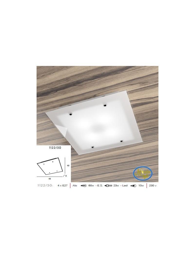 TOP LIGHT: Brick plafoniera vetro satinato bianco bordo trasparente 50cm in offerta