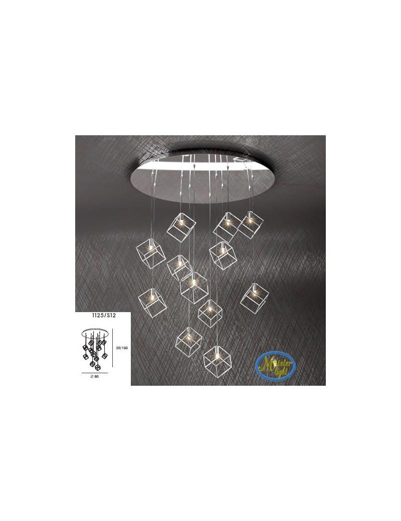 TOP LIGHT: Frame sospensione 12 luci metallo e acciaio con diffusore cubo 10x10cm in offerta