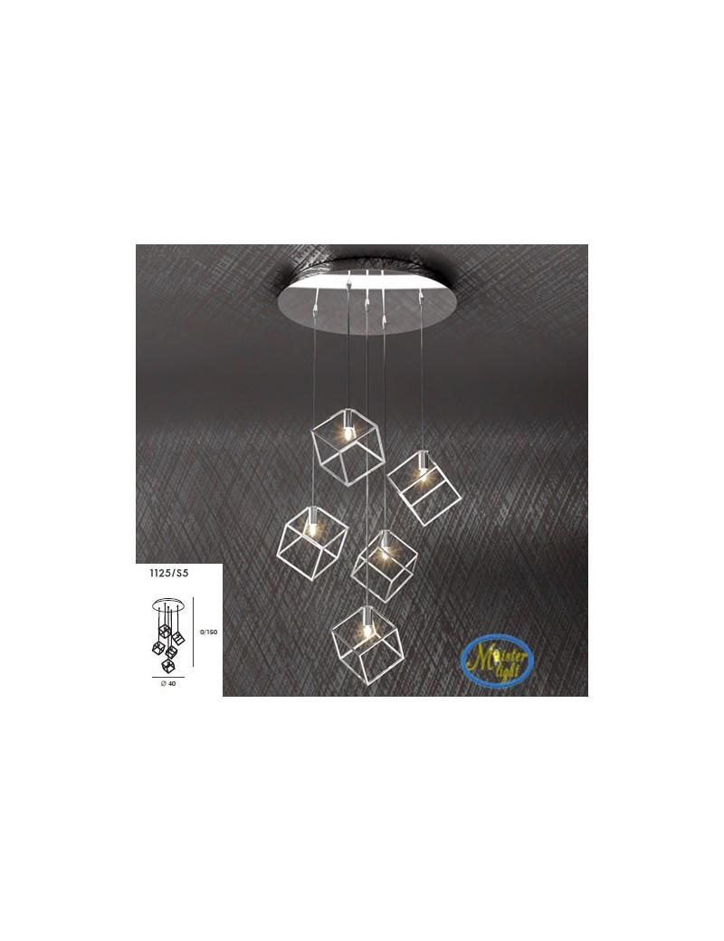 TOP LIGHT: Frame sospensione 5 luci metallo e acciaio con diffusore cubo 10x10cm in offerta