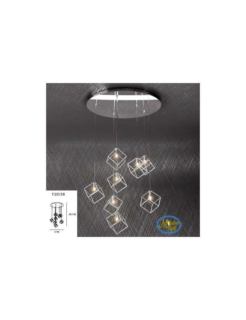 TOP LIGHT: Frame sospensione 8 luci metallo e acciaio con diffusore cubo 10x10cm in offerta