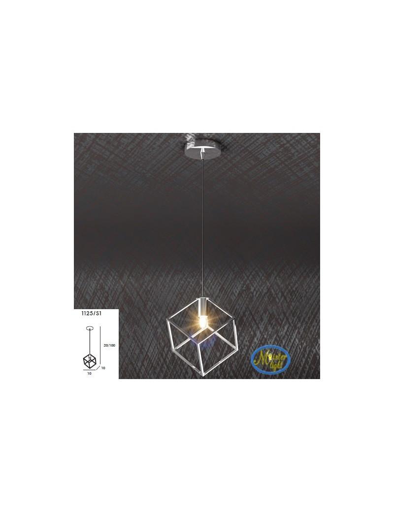TOP LIGHT: Frame sospensione particolare metallo e acciaio con diffusore cubo 10x10cm in offerta