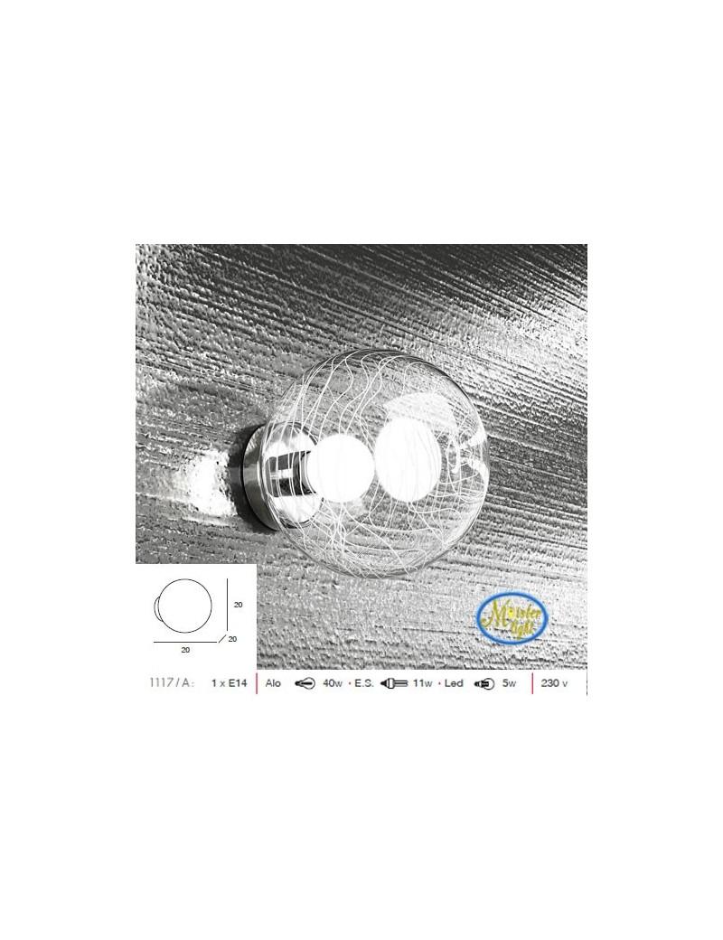 TOP LIGHT: Moon applique sfera trasparente con decoro bianco cameretta in offerta