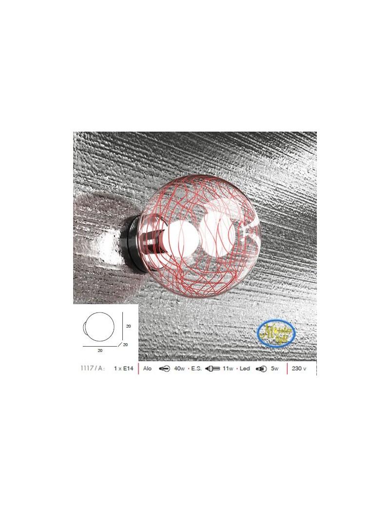 TOP LIGHT: Moon applique sfera trasparente con decoro rosso in offerta