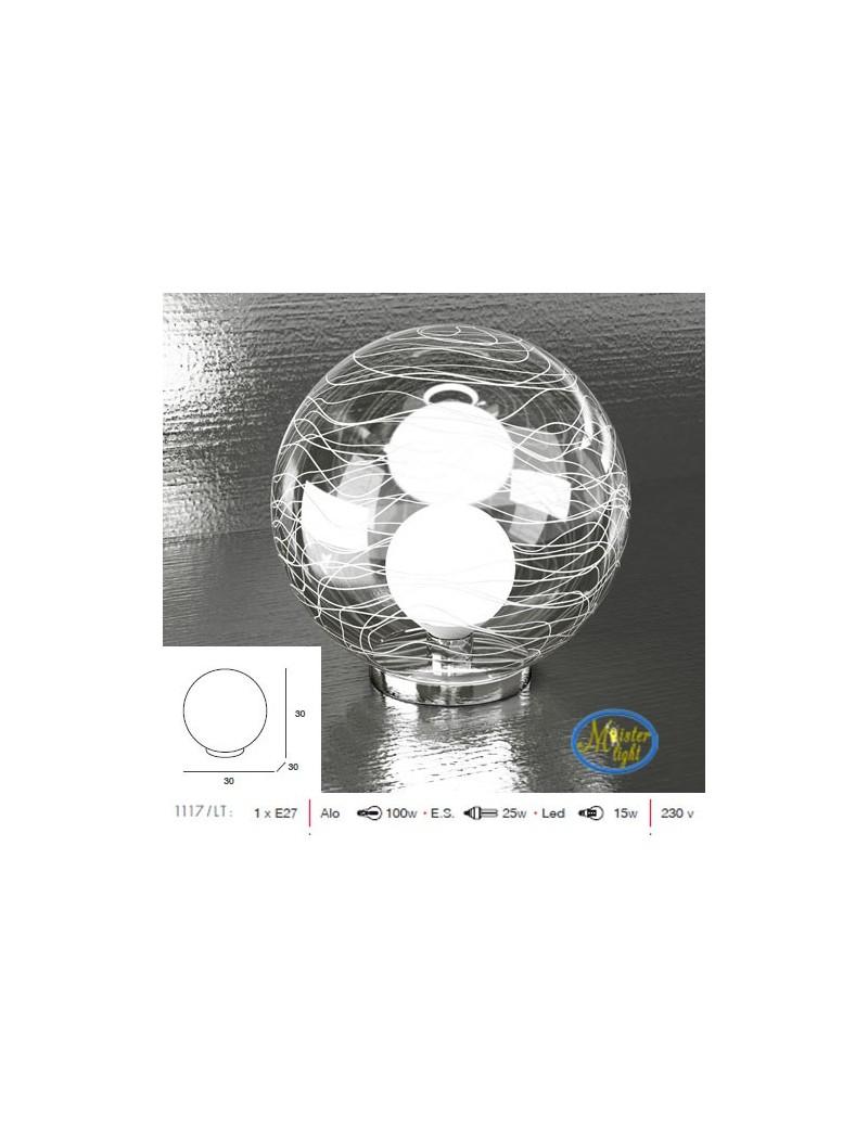 TOP LIGHT: Moon lampada tavolo sfera trasparente decoro bianco per camera base cromo in offerta