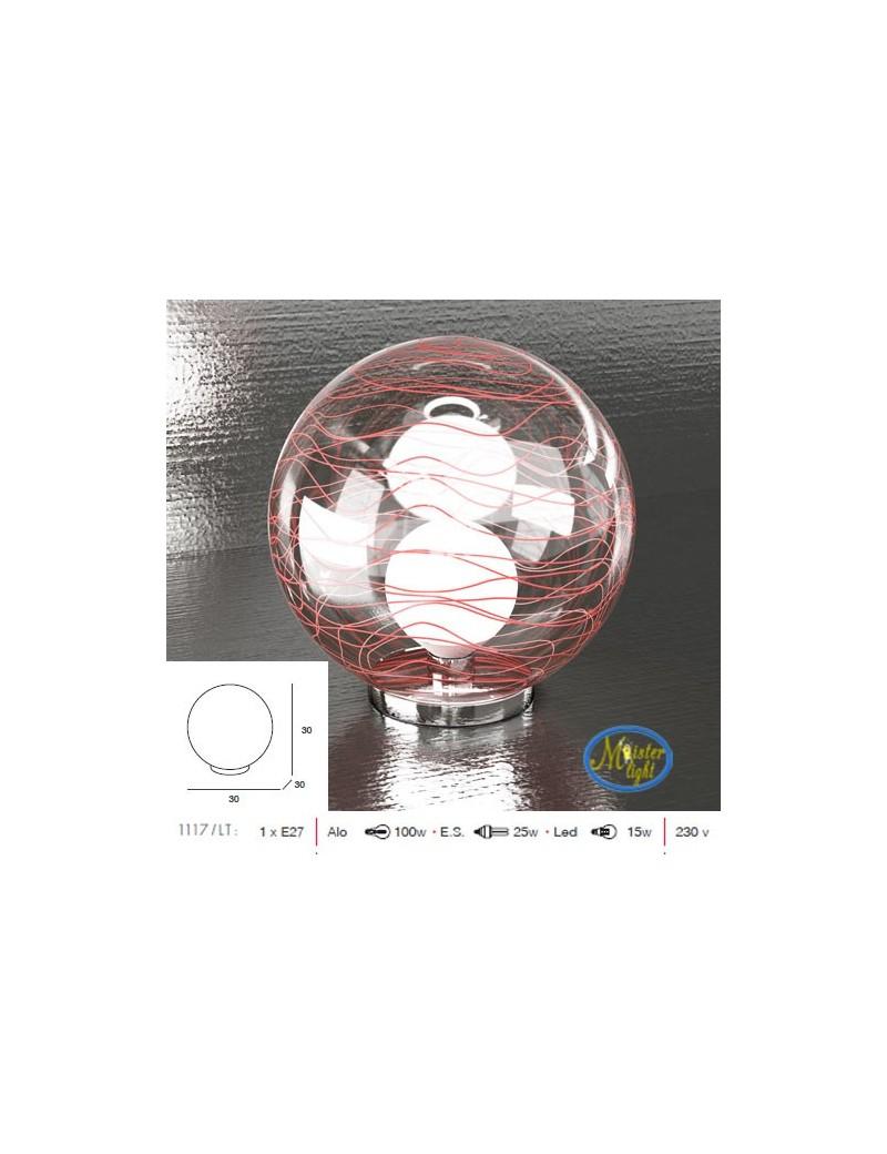 TOP LIGHT: Moon lampada tavolo sfera trasparente decoro rosso camera cameretta moderno base cromo