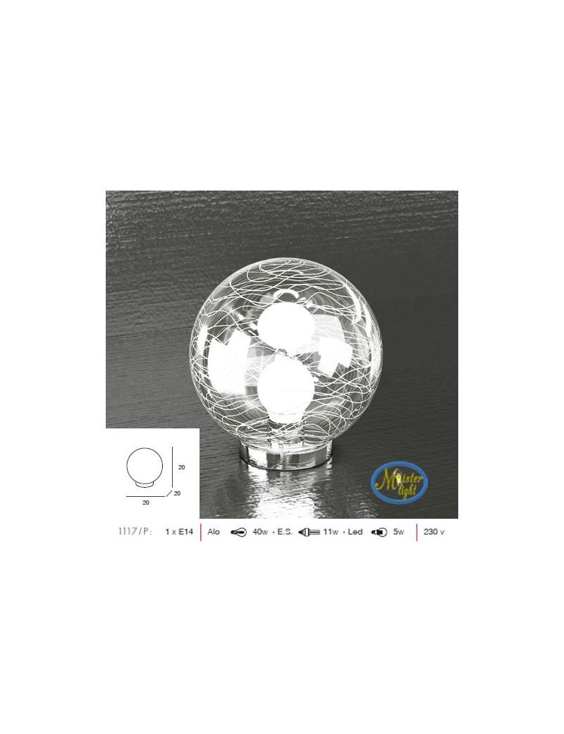 TOP LIGHT: Moon lume lumetto sfera trasparente decoro bianco camera cameretta moderno base cromo in