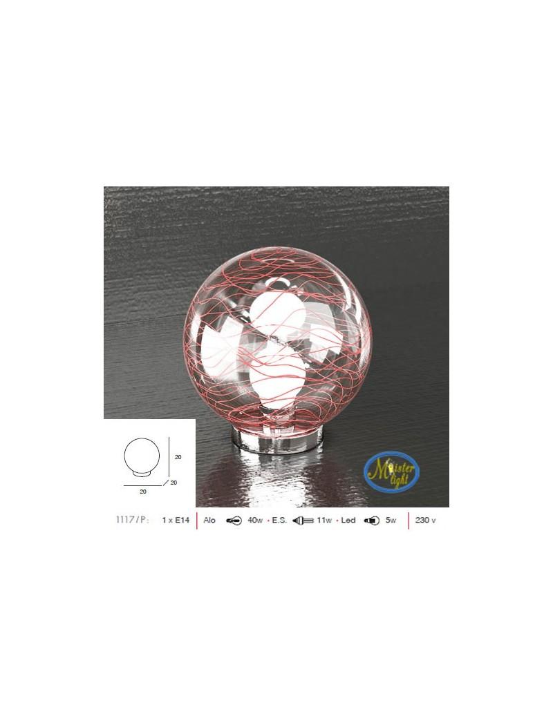 TOP LIGHT: Moon lume lumetto sfera trasparente decoro rosso base cromo per camera da letto in