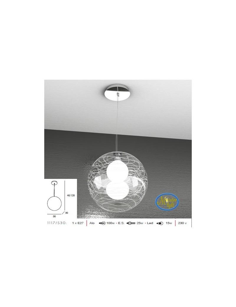 TOP LIGHT: Moon sospensione sfera trasparente decoro bianco altezza regolabile 30cm in offerta