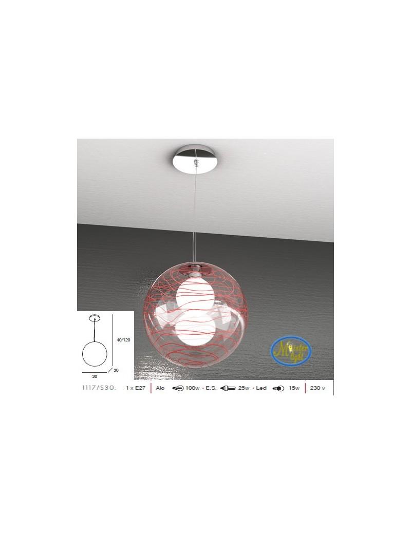 TOP LIGHT: Moon sospensione sfera trasparente decoro rosso altezza regolabile 30cm in offerta