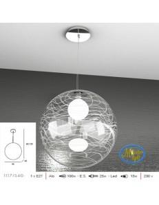 TOP LIGHT: Moon sospensione sfera trasparente decoro bianco altezza regolabile 40cm in offerta