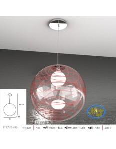TOP LIGHT: Moon sospensione sfera trasparente decoro rosso altezza regolabile 40cm in offerta