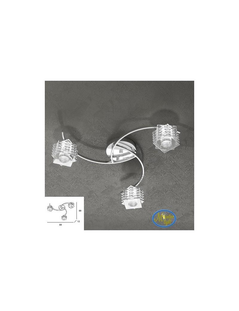 TOP LIGHT: Rubik plafoniera con 3 cubi in cristallo sfalsato trasparente struttura in metallo in