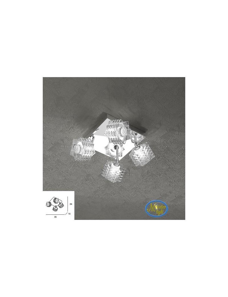 TOP LIGHT: Rubik plafoniera con 4 cubi in cristallo sfalsato trasparente struttura in metallo in