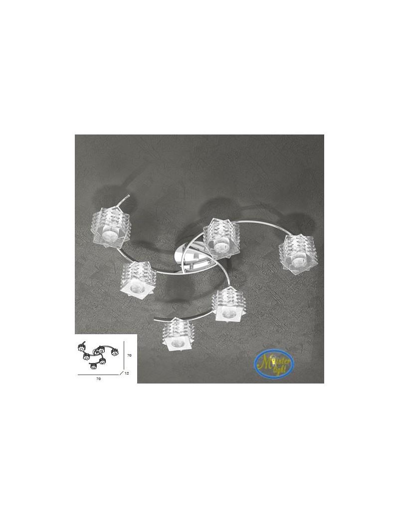 TOP LIGHT: Rubik plafoniera con 6 cubi in cristallo sfalsato trasparente struttura in metallo in
