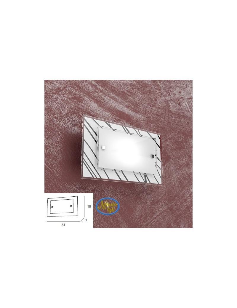 TOP LIGHT: Scraps applique metallo bianco e cromo vetro satinato e serigrafato decoro nero 31cm in