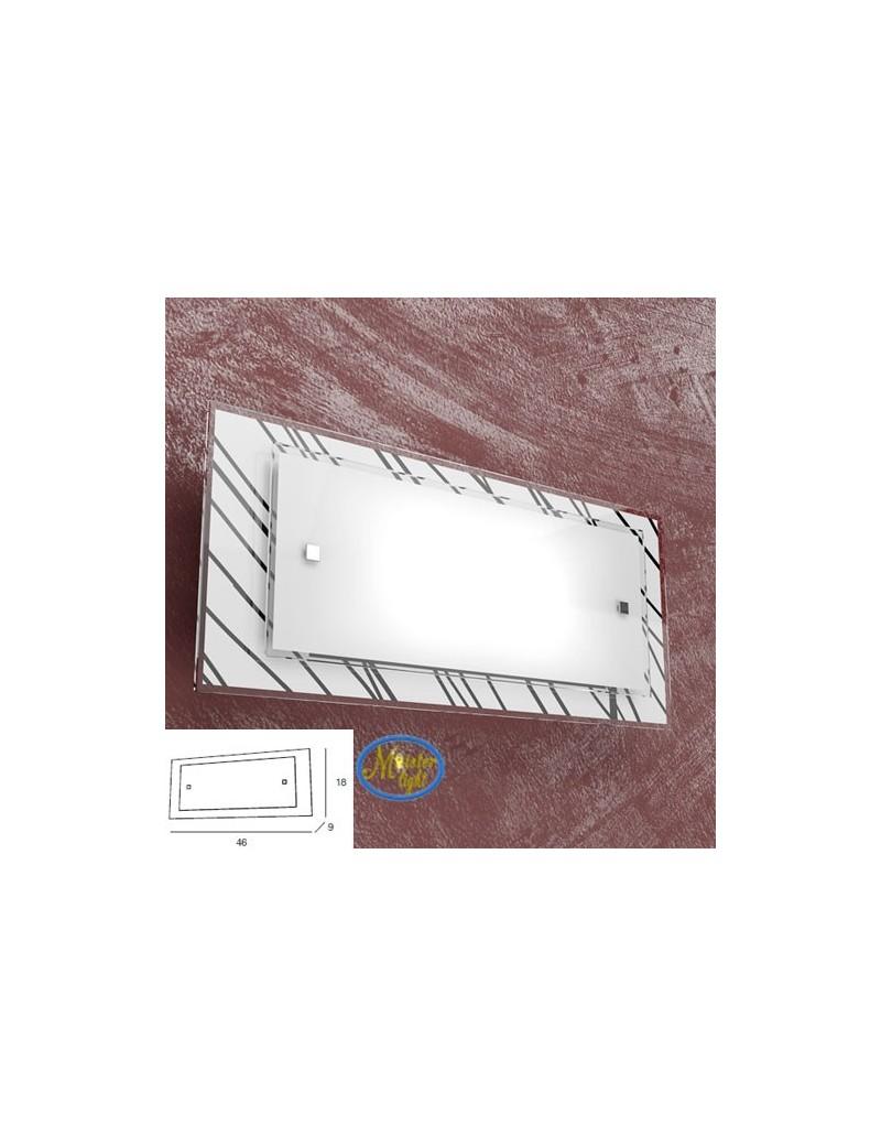 TOP LIGHT: Scraps applique metallo bianco e cromo vetro satinato e serigrafato decoro nero 46cm in