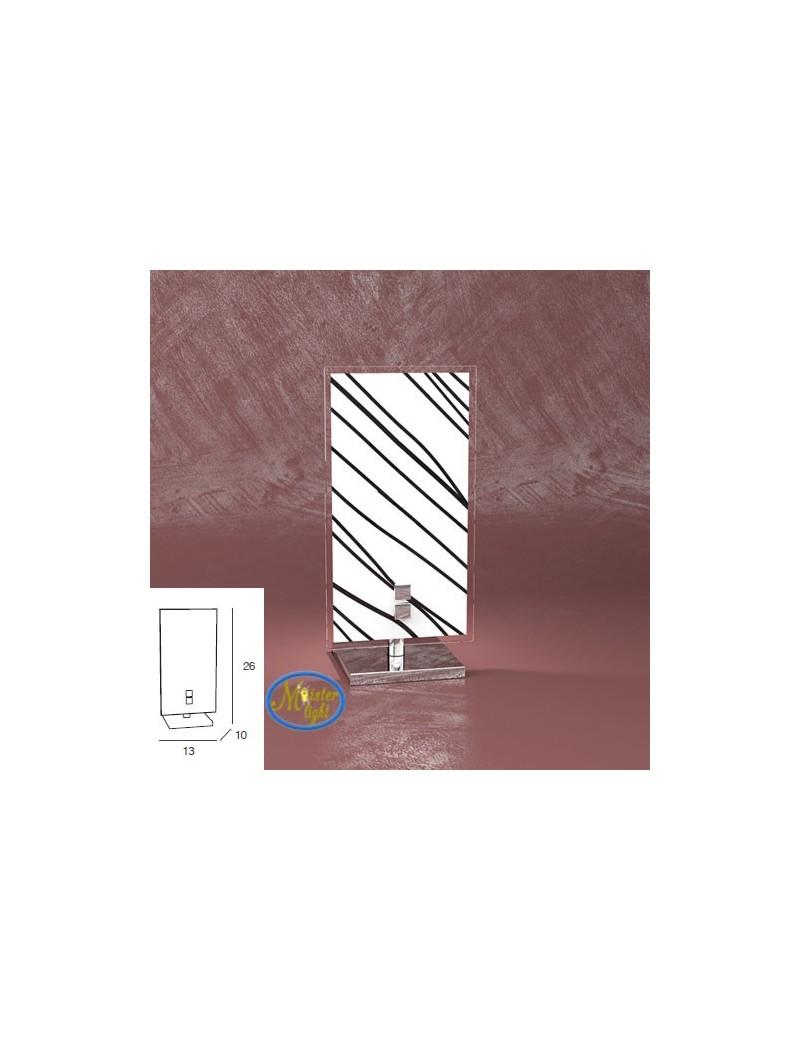 TOP LIGHT: Scraps lume lumetto metallo bianco e cromo vetro satinato e serigrafato decoro nero in