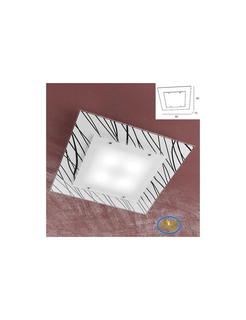 TOP LIGHT: Scraps plafoniera metallo bianco e cromo vetro satinato e serigrafato decoro nero 60cm