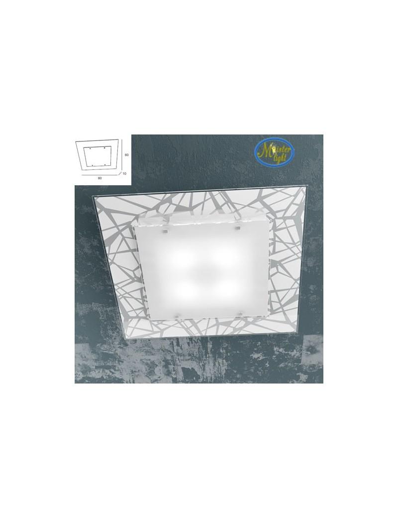 TOP LIGHT: Stripes plafoniera metallo bianco e cromo vetro serigrafato 60cm in offerta