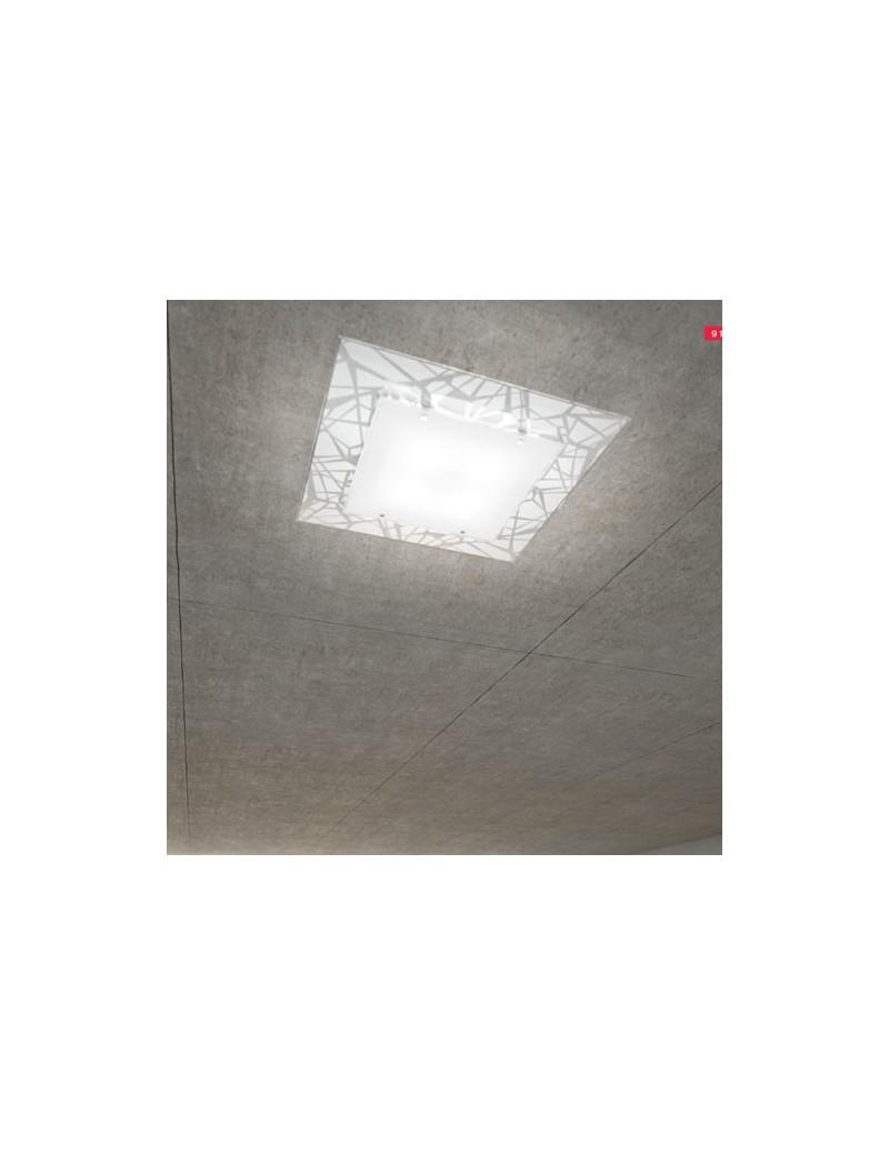 TOP LIGHT: Stripes plafoniera metallo bianco e cromo vetro serigrafato 45cm in offerta