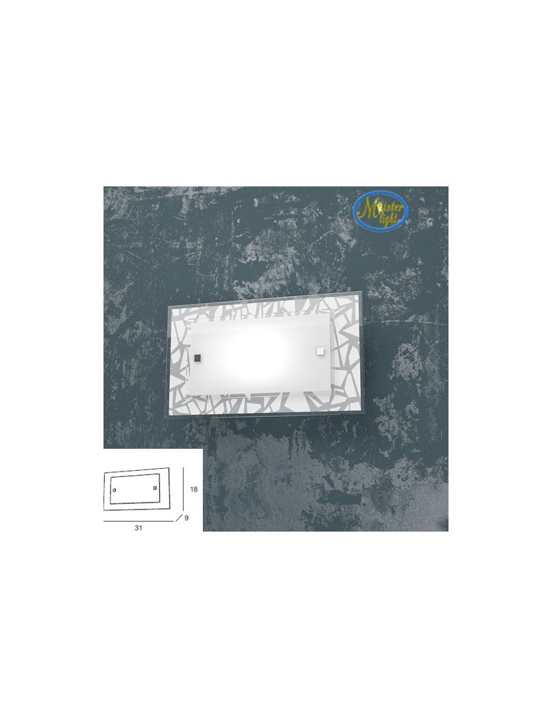 TOP LIGHT: Stripes applique metallo bianco cromo vetro serigrafato 31cm in offerta