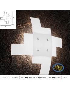 TOP LIGHT: Tetris applique vetro bianco serigrafato particolari cromati 55cm in offerta