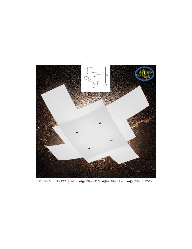 TOP LIGHT: Tetris plafoniera vetro bianco serigrafato particolari cromati 95cm in offerta