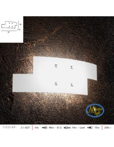 TOP LIGHT: Tetris applique vetro bianco serigrafato particolari cromati 57cm in offerta