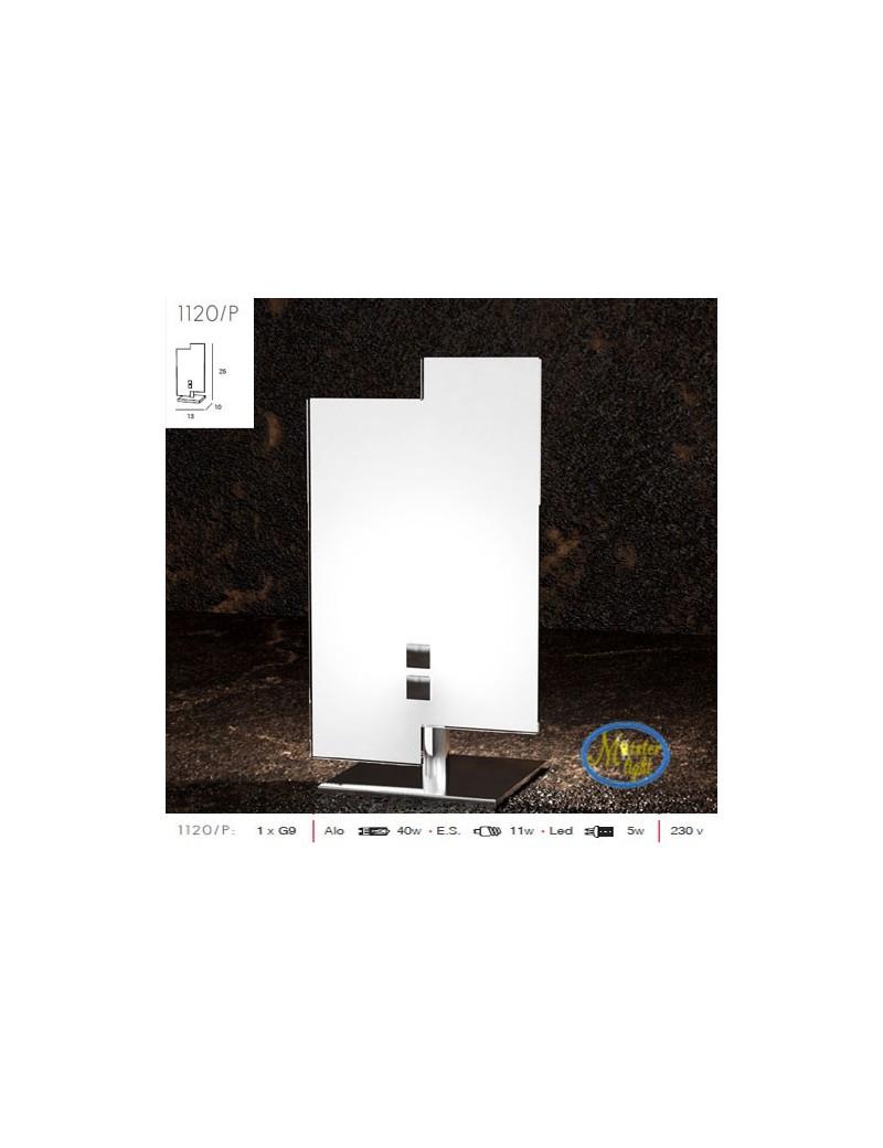 TOP LIGHT: Tetris lume lumetto metallo cromato vetro serigrafato bianco in offerta