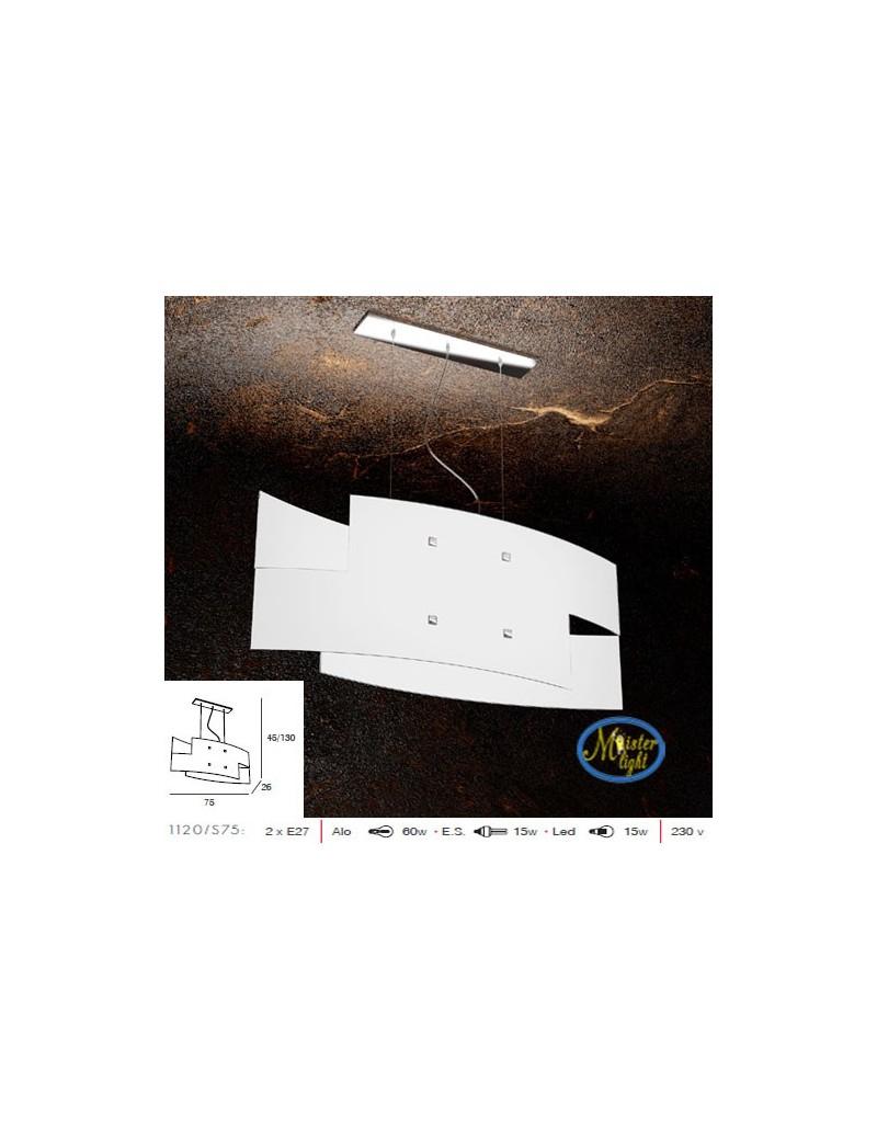 TOP LIGHT: Tetris sospensione vetro serigrafato bianco particolari cromati in offerta
