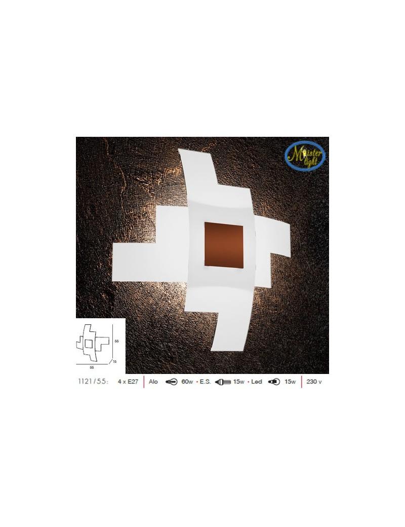 TOP LIGHT: Tetris color applique vetro serigrafato bianco decoro centrale corten 55cm in offerta
