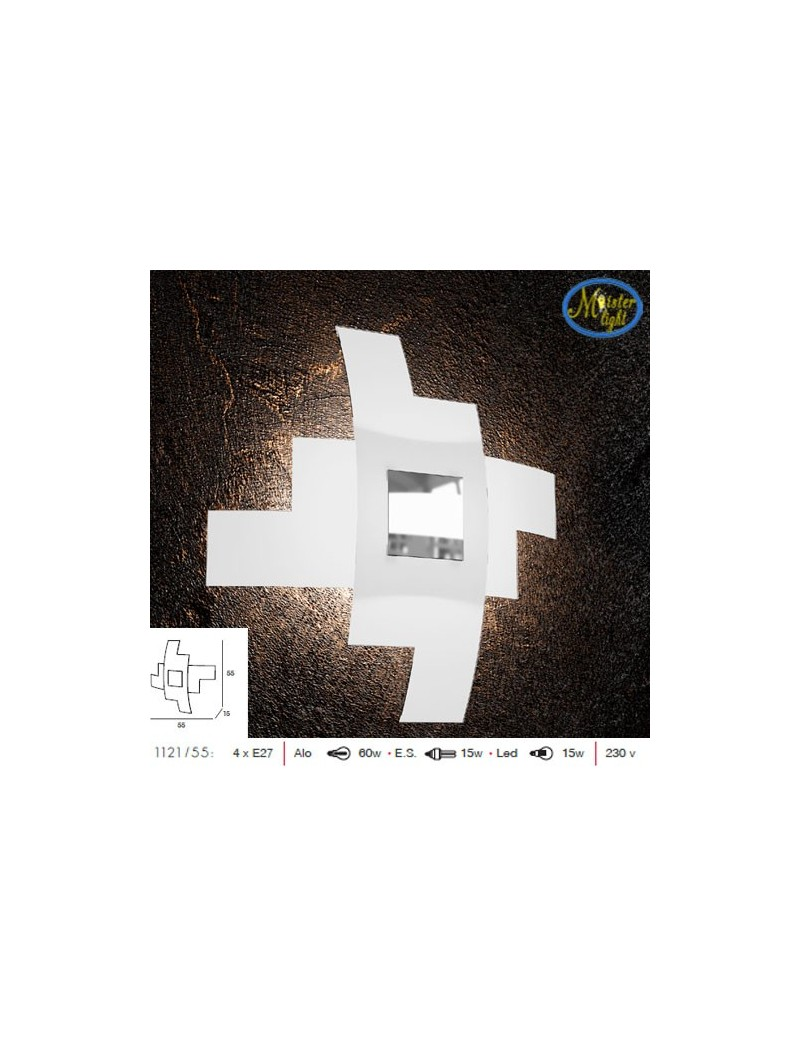 TOP LIGHT: Tetris color applique vetro serigrafato bianco decoro centrale cromo 55cm in offerta