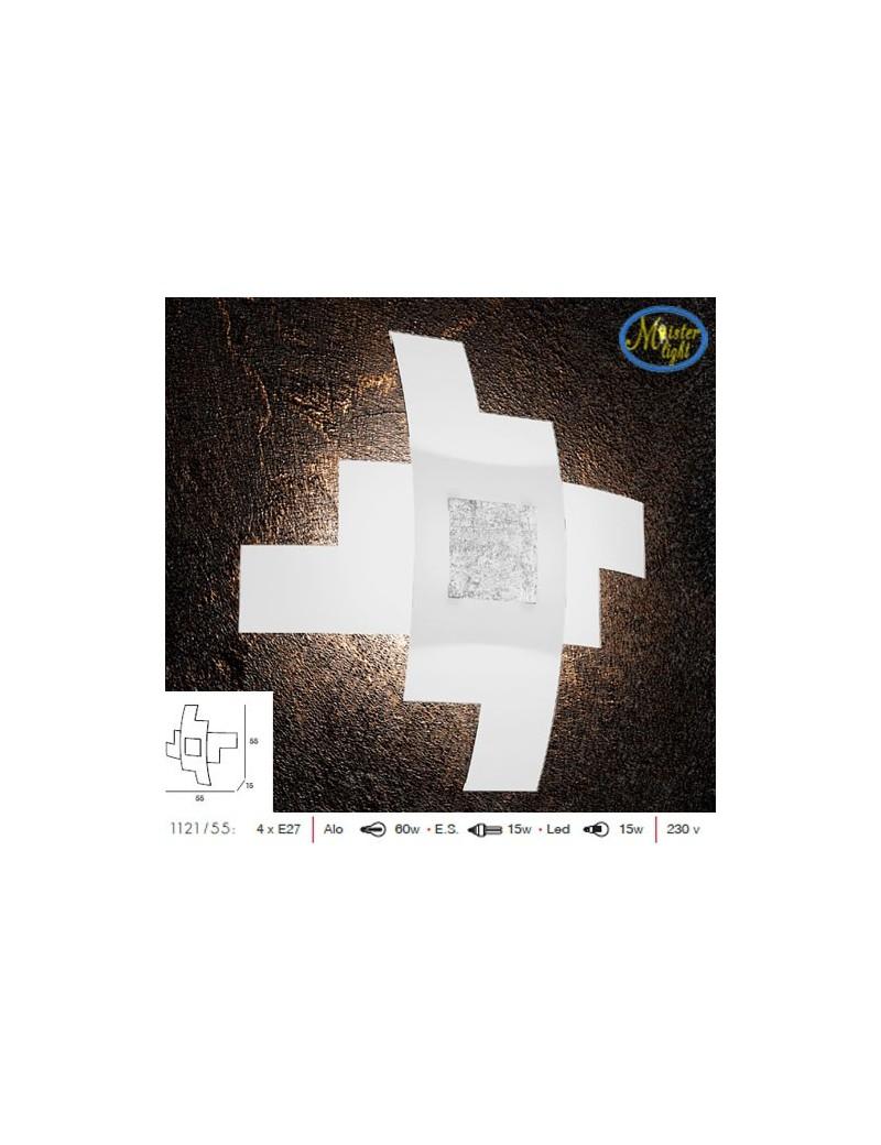 TOP LIGHT: Tetris color applique vetro serigrafato bianco decoro centrale foglia argento 55cm in