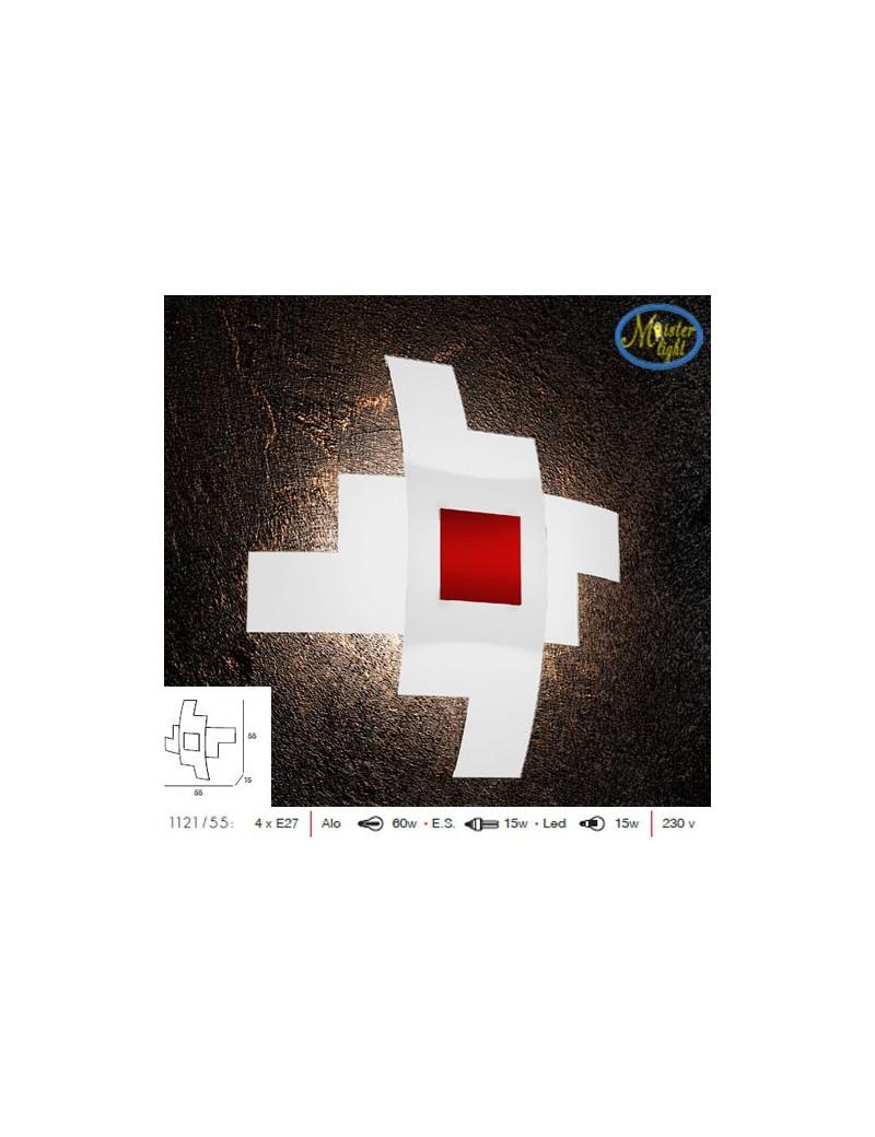 TOP LIGHT: Tetris color applique vetro serigrafato bianco decoro centrale rosso 55cm in offerta