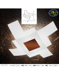 Tetris color plafoniera vetro bianco serigrafato particolari corten 75cm