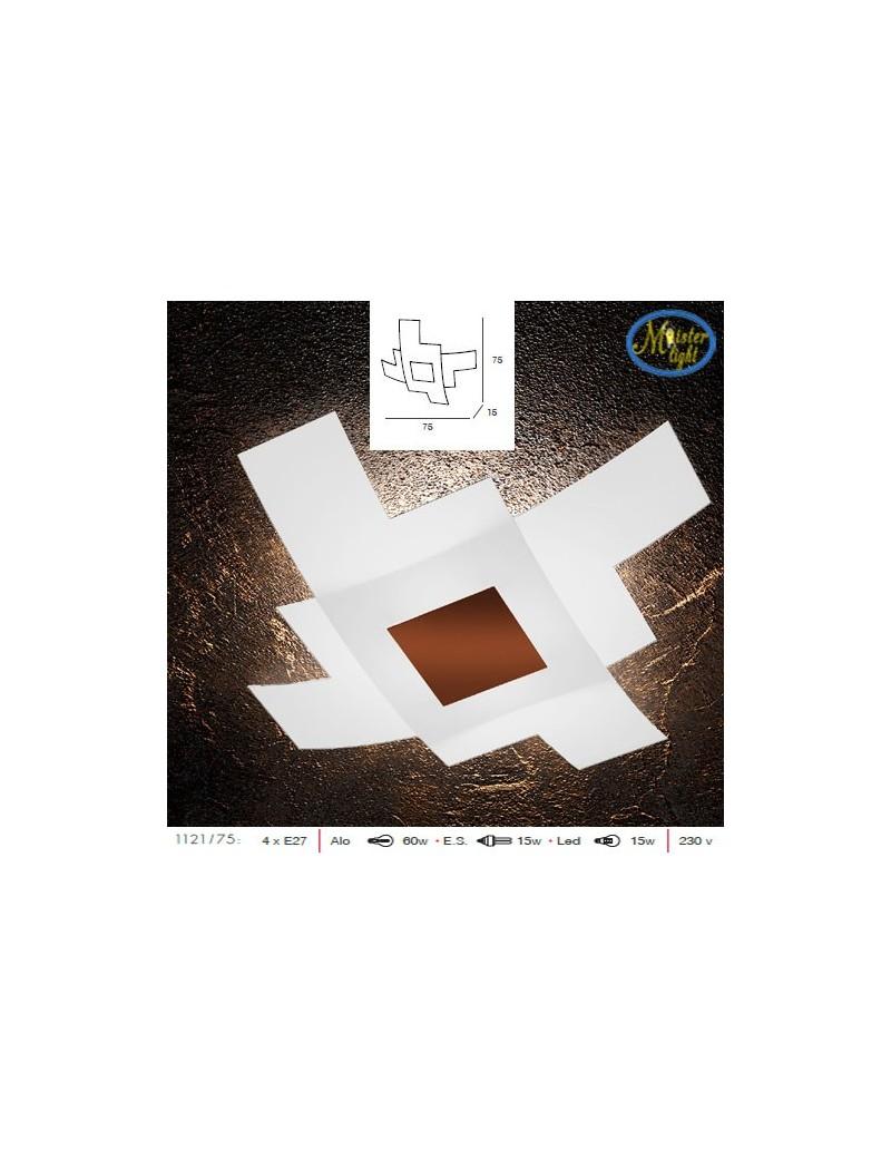 TOP LIGHT: Tetris color plafoniera vetro bianco serigrafato particolari corten 75cm in offerta