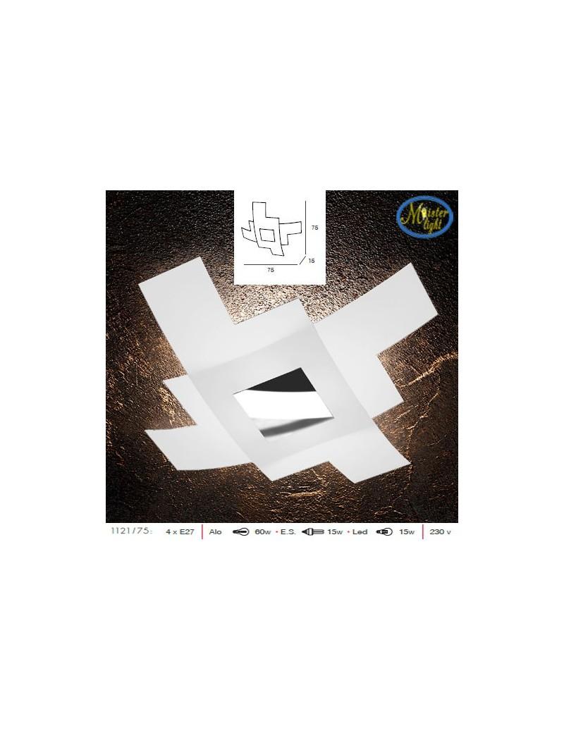 TOP LIGHT: Tetris color plafoniera vetro bianco serigrafato particolari cromo 75cm in offerta
