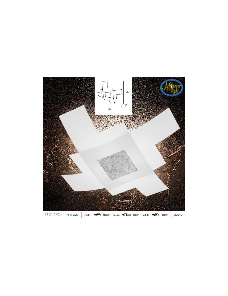 TOP LIGHT: Tetris color plafoniera vetro bianco serigrafato particolari argento 75cm in offerta