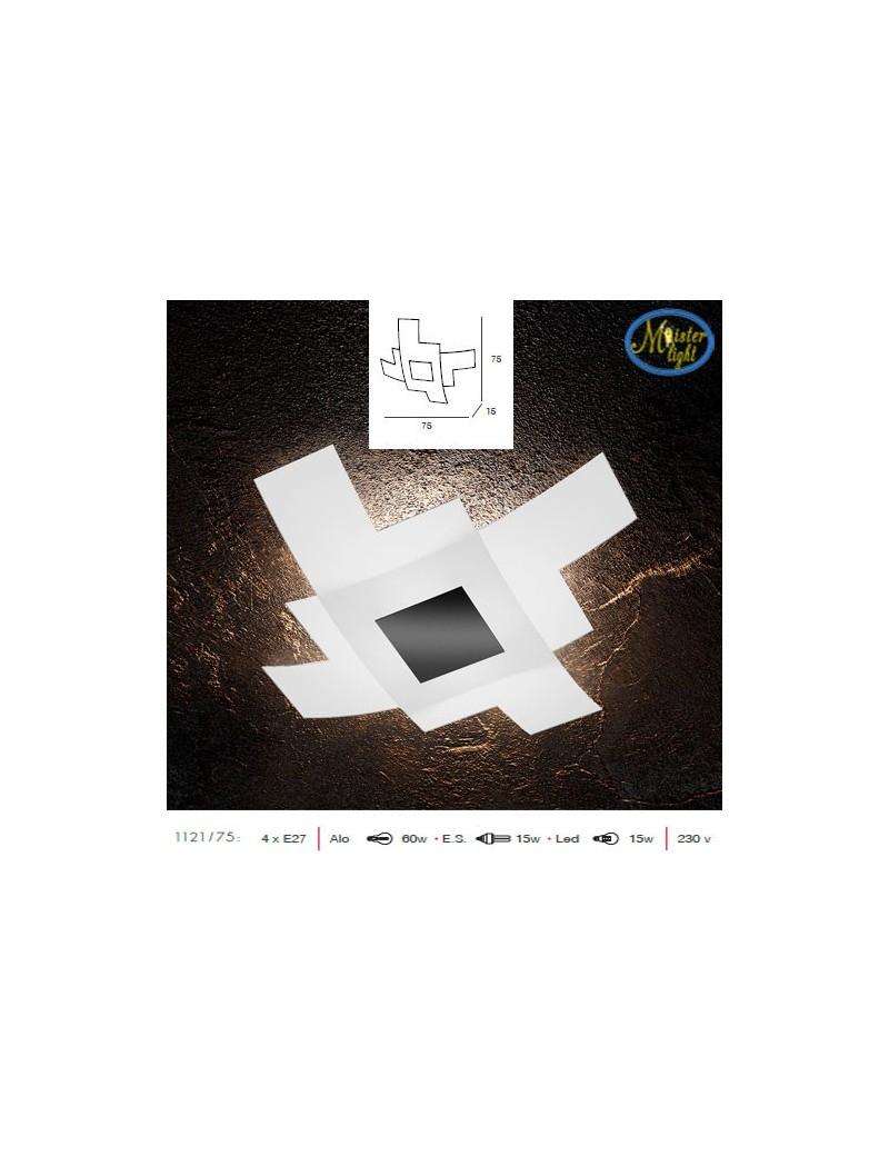 TOP LIGHT: Tetris color plafoniera 75cm vetro bianco serigrafato particolari nero in offerta