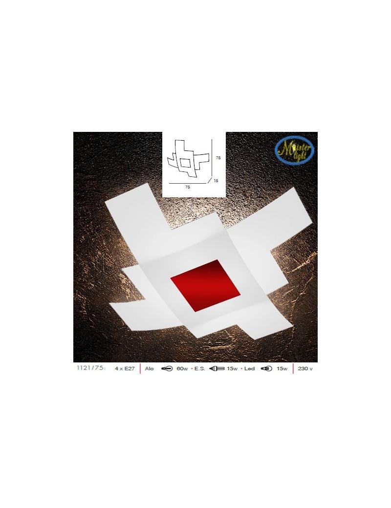 TOP LIGHT: Tetris color plafoniera vetro bianco serigrafato particolari rosso 75cm in offerta